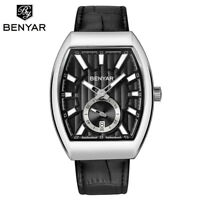 BENYAR 3ATM Waterproof Date Men Pilot Sport Quartz Wrist Watch Leather Band