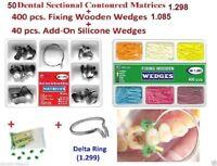 50pcs Dental Sectional Contoured Matrices Matrix + Ring Delta as Palodent Tor VM