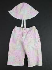 BABY GAP GIRLS 2 PC PINK FLOWER QUILT PATCHES RUFFLES PANTS & HAT SET 3-6M NEW