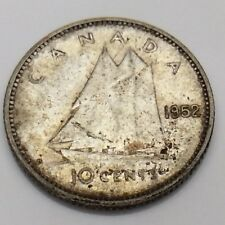 1952 Canada 10 Ten Cents Silver Dime Canadian Circulated Coin F732