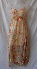 Size 10 Midi Dress Asymmetrical Hem Peach Floral Chiffon Party Casual Evening