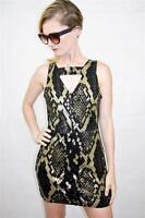 ONE TEASPOON Snakeskin Look SUEDE AFRICAN NIGHT FLIGHT DRESS RRP $250 6 XXS
