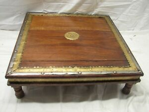 Antique Wooden Prayer Bench Stand w/Brass Trim Stool Table Display Ornate