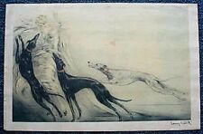 VINTAGE (CIRCA 1920`S ) LOUIS ICART PRINT SIGNED 10 X 16 LADY W/ 3 GREYHOUNDS