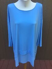 SOLDOUT Chico's Blue Tiered Woven Hem Tunic Top Shirt Size 3 XL 16 18