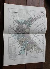 1850 Carte Géographique Atlas époque couleur Département  Gironde plan Bordeaux