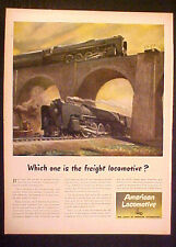 1945 WWII American Locomotive Railroad Military Memorabilia Freight Train Art AD