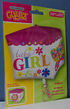 PALLONCINO CUBO BABY GIRL BIMBA 38 x 40 cm. in MYLAR NASCITA BATTESIMO ROSA