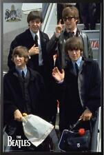 Beatles Coming to America Airport Poster Dry Mounted in Black Wood Frame, 24x36