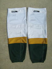 Dallas Stars REEBOK Edge Pro Stock Hockey Shin Pad Socks XL White Gold and Green