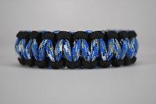 550 Paracord Survival Bracelet Cobra Black/Blue Camo Camping Military Tactical
