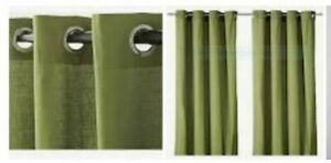 """IKEA Mariam Green Curtains,2 NEW Drape Panels""""Silver""""Grommet Pair Olive Eyelet"""