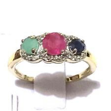 Three-stone Genuine Sapphire Emerald, Ruby YG Plated Real 925 Silver Ring size 8