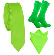 Mens Tie Socks Pocket Square Set Orange Blue Pink Green Neon Hankywedding