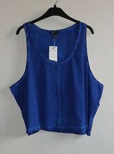 MNG Mango Size L Wide Loose Fit Cotton Vest Top Blue