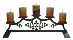 Wrought Iron Fireplace Pillar Candle Holder Victorian Pattern Holds 5 Hearth