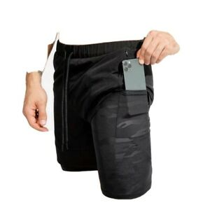 Phone Pocket 2 In 1 Cross Fit Shorts Mens Gym fitness with inner comprensión