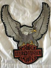 """Vintage Rare HUGE HARLEY DAVIDSON EAGLE WINGS UP XXL Patch Silver 12""""Tall X 10"""""""