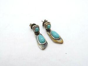 WK Whitney Kelly Sterling Silver Turquoise Dangle Earrings, 3.8g