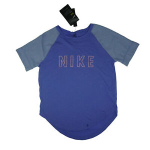 Nike Girl's Standard Fit Dry Short Sleeve Crew Neck Shirt Blue Pink Medium