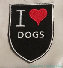 Embroidered Retro Vintage Style I Love Dogs Black Shield Patch Iron On Sew USA