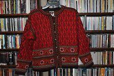Dale of Norway Red Orange Black Nordic Ski Cardigan Sweater Ladies S  (bin110)