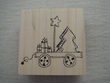 JUDITH RUBBER STAMP CHRISTMAS TREE IN WAGON RETIRED G-30 NEW