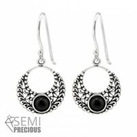 925 Sterling Silver Circle with Black Onyx Gemstone Drop/Dangle Earrings D2