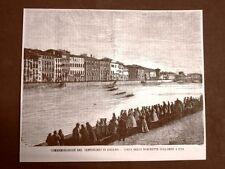 Pisa nel 1865 Per i 100 anni o centenario di Galileo Galilei Corsa sull'Arno