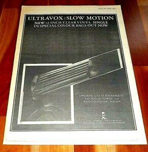 ULTRAVOX SLOW MOTION 1978 FULL PAGE PRESS ADVERT POSTER SIZE  37/26CM POST PUNK