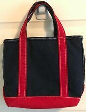 Vintage LL Bean Boat & Tote Bag Purse Handbag Zipper Heavy Canvas Blue Red