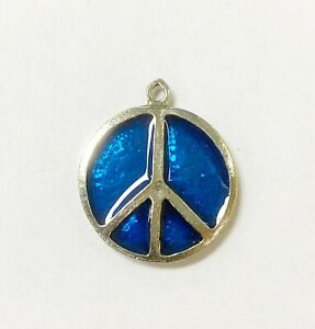 Made in USA Pewter Charm in Peace Sign Theme Design with Blue Enamel