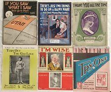Nine COMIC RELATIONSHIPS 1904-1917 sheet music BILLY SUNDAY Double Entendre +++