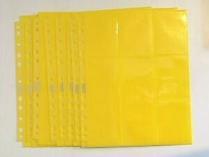 YELLOW ULTIMATE GUARD 18-POCKET SIDE-LOADING TRADING CARD PAGES x10