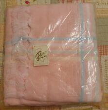 NWT Vintage Renzo Baby Blanket PINK Waffle Knit Blanket Acrylic Gift Sealed