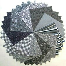 """40 - 5"""" Gray & Black Quilt Fabric Squares 100% Cotton Charm Pack  621"""