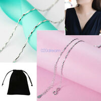 925 Sterling Silver Necklace Lobster Clasp Adjustable Chain Women Party Gifts