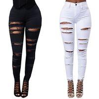 Fashion Women Stretch Ripped Denim Skinny Jeans Pants High Waist Pencil Trousers