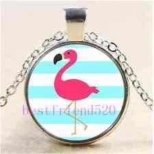 Pink Flamingo Photo Cabochon Glass Tibet Silver Chain Pendant Necklace