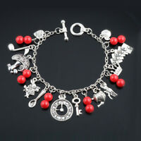 Alice in Wonderland Charm Bracelet Bangle Rabbit Hat Key Clock Red Beads