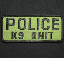 POLICE K9 UNIT BLACK GREEN UNIFORM EMBROIDERED TACTICAL PATCH VELCRO 9X4