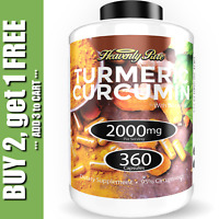 Turmeric Curcumin 2000 mg High Absorption Extra Strength Vegan Capsules 360 Ct