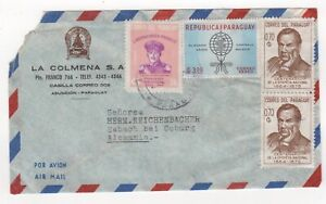 1968 PARAGUAY Air Mail Cover ASUNCION to ESBACH BEI COBURG GERMANY Pair
