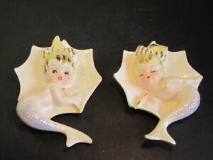 Pair Of VTG Mermaid Girls Ceramic Wall Plaques