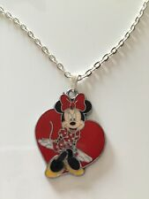 "5 X Minnie Mouse Red Heart Pendants 16"" Silver Plated Curb Chain"