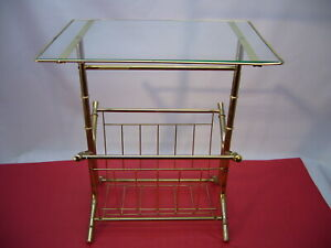 Vtg End/Side Table Magazine Rack Storage Glass Top Gold Metal Faux Bamboo