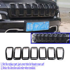 Black Front Grille Grill Frames Cover Trim for 2014 15 16 17 2018 Jeep Cherokee