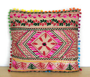 """New 16"""" Pillow Cover 24"""" Square Jute Embroidery Cushion Cover 18"""" Pillowcase D2"""