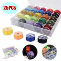 25X Sewing Machine Bobbins Thread Spools Case With Threads for Sewing Machine