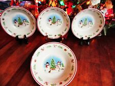 New Other(old stock) 4 Christmas Snowman Snowmen Stoneware Soup Cereal Bowls